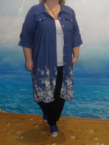 Рубашка-платье, джинс синий (Smart-Woman, Россия) — размеры 60-62, 64-66, 68-70, 76-78